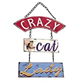 ukgiftstoreonline Crazy Cat Lady Sign Plaque Vintage Shabby Chic Gift