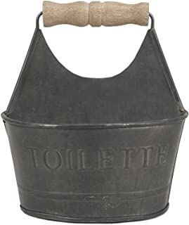 CTW Home Collection Colonial Tin Works Small Toiletries Bathroom Caddy 450156 Metal with Wooden Handle and Toilette on Front Rustic Farmhouse Gray,