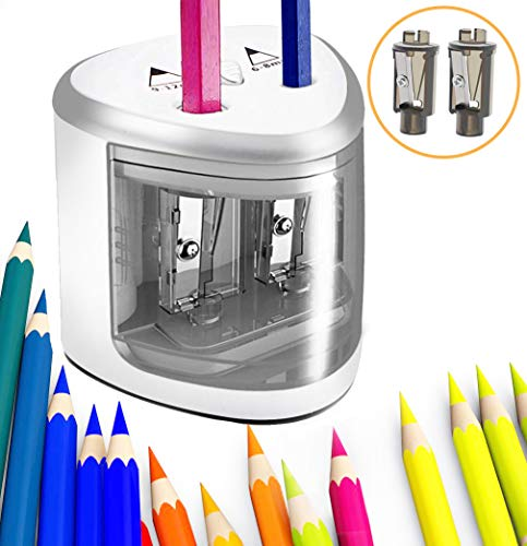Electric Pencil Sharpener Heavy Duty Pencil Sharpene With Dual Hole Ideal For NO.2, Colored Pencils Eyebrow Pencils Battery-Operated Kids Safety Pencil Cutter for Artists (Silver and white)