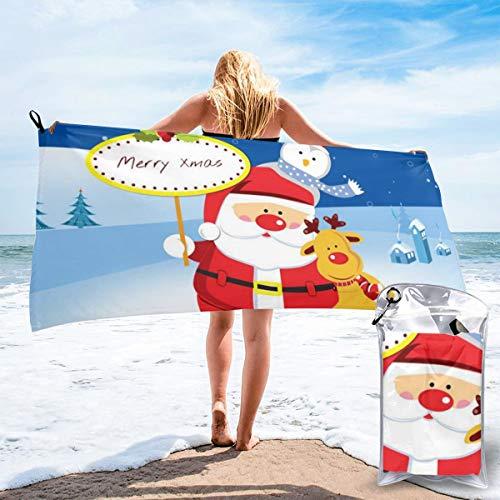D.ADcustom Merry Christmas Santa Claus Polyester Quick Dry Beach Towel Bath Towel