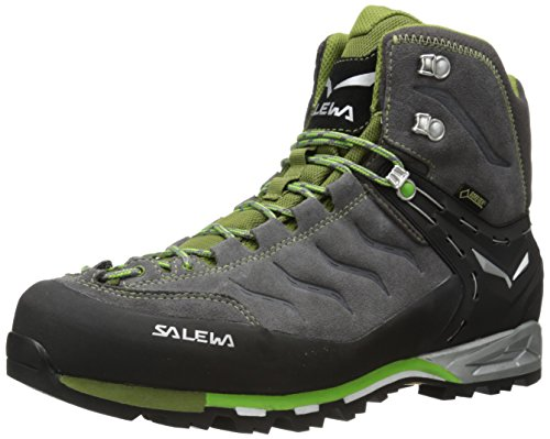 Salewa Men's Mountain Trainer Mid GTX High Rise Hiking Shoes, Pewter/Emerald, 7