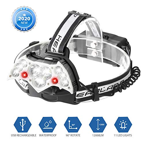 Aerb [2020 New] Lampada da Testa, Torcia Frontale LED USB, 10 LED Super Luminoso, 12000LM e 7 Modi Luce Regolabile, Impermeabile IPX6, per Escursioni, Campeggio, Ciclismo, Corsa, Speleologia, Pesca.