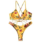 ZAFUL Damen Bikini-Set Geblumtes Bikini Set mit Schn¡§1Rung Push Up Gepolsterte Bademode Bikinis Swimwear Swimsuit Gelb Small