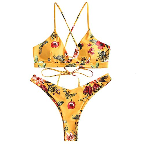 ZAFUL Damen Bikini-Set Geblumtes Bikini Set mit Schnürung Push Up Gepolsterte Bademode Bikinis Swimwear Swimsuit Gelb Large