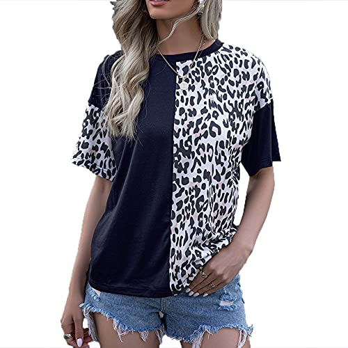 Primavera Y Verano, Jersey Informal para Mujer, Cuello Redondo Suelto, Manga Corta, Estampado De Leopardo, Camiseta Superior Estampada para Mujer