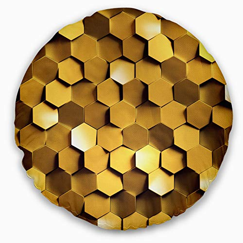 Designart Golden Honeycomb Wall Texture' Abstract Throw Round Living Room, Sofa, High Quality pillow insert + Cushion Cover Printed On Both Side 16'