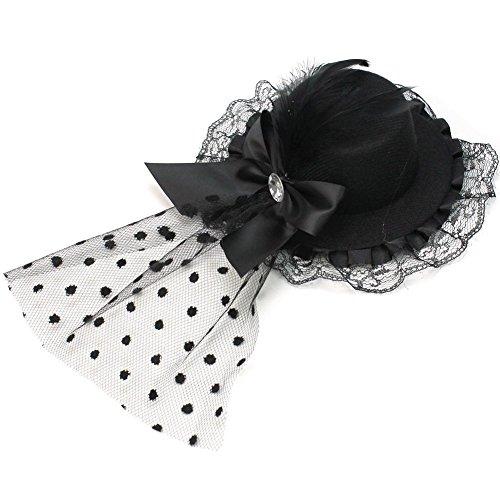 Noir plumes pinces à cheveux avec nœud en dentelle mini chapeau haut en maille filet Bibi style punk/gothique