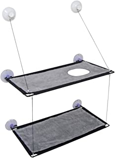 """BobbyPet Big Cat Window Perch for Multi Cats - Double Stack 12""""x22.8"""" EXTERMELY Durable Suction Cups can Holds Huge Cats and Easy Set up Within 10 Minutes"""