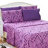 Lux Decor Collection Bed Sheet Set - Brushed Microfiber 1800 Thread Count Bedding - Wrinkle, Stain & Fade Resistant - Deep Pocket Queen Size Sheets Set - 6 PC (Queen, Paisley Purple)