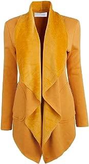 EnergyWomen Solid Lapel Open Front Mid Long Long-Sleeve Elegant Outwear Coat