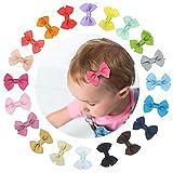 Haarschleifen Baby Haarspange Schleife Mädchen, 20 Stück Klein Bunt Haarclips Mini Haarklammern Kinder Haarschmuck aus Ripsband und Metall mit Rutschfeste Matte