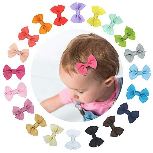 Baby Haarschleifen Haarspange Mädchen, 20 Stück Baby Haarclips Haarklammern Mini Bunt Haarspangen Schleife Haarschmuck Haar Accessoire für Mädchen Kinder aus Ripsband und Metall