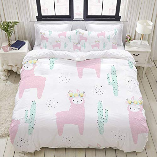 Jnsio Duvet Cover,Cute Pink Llama Floral Wreath Seamless,Decorative 3 Piece Bedding Set with 2 Pillow Shams,Ultra Soft C486