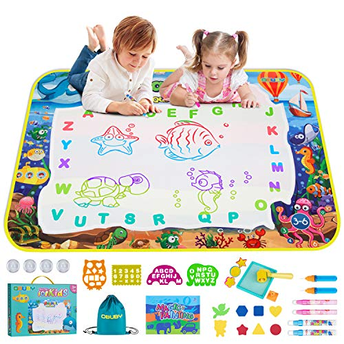 Obuby Water Magic Drawing Mat Kids 47x35 Inches Doodle Gifts Color Draw Board No Mess Coloring Painting Writing Educational Toys for Boys Girls Age 3-12 Years Old Toddler