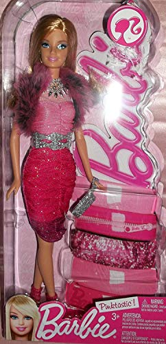 Barbie - Pinktastic - Exclusive Doll - Honey Doll with Ruched Ombre Dress Cocktail Dress & Faux Fur Shrug - X6995