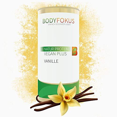 BodyFokus Natur Protein Vegan Plus - Hochwertiges & veganes Proteinpulver - Gute Löslichkeit - Pflanzliches Eiweißpulver - Hervorragendes Aminosäureprofil - Leckerer Vanillegeschmack