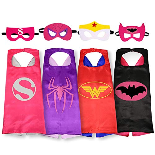 VIVAN Superhero Capes with Masks Dress up Costume Cosplay Role Play Christmas Halloween Birthday Party Favors for Kids (4 PCS)