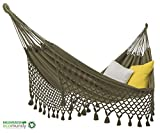ecomundy Romance 380 XL Verde - Hamaca con Flecos, 2-Personas, algodón orgánico - Tejido Tradicional - Gots 160x260x380cm