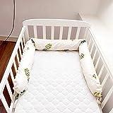 185cm Minky Dot Almohada para dormir en forma de U para bebé niños niñas protector de ropa de cama almohadillas cuna desmontables, parachoques cuna cojín cilíndrico, relleno de espacios en la cama