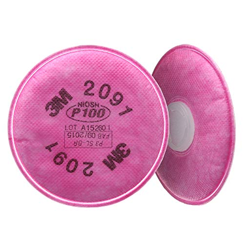 3M P100 Respirator Filter 2091, 50 Pairs, Helps Protect Against Oil and Non-Oil Based Particulates, Lead, Asbestos, Arsenic, MDA