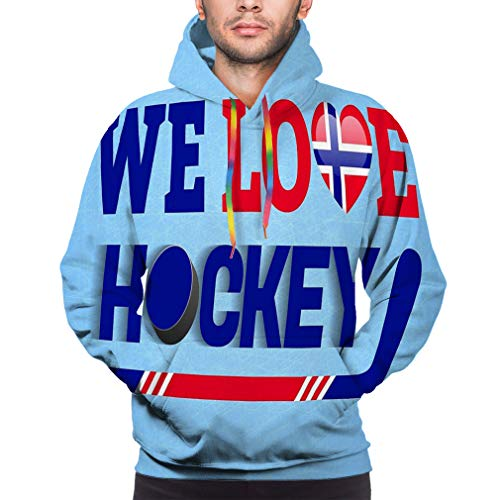 NA Norge Ice Hockey Norway Winter Sports Love Poster Heart Symbol Traditional Colors Cloth Stars Soft Funny 3D Printing Hoodie