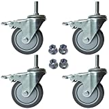 AAGUT 4 Inch Brake Stem Casters 1/2'-13x1-1/2', Swivel Stem Caster, Grey Wheel Industrial Castors Heavy Duty Replacement for Carts Set of 4