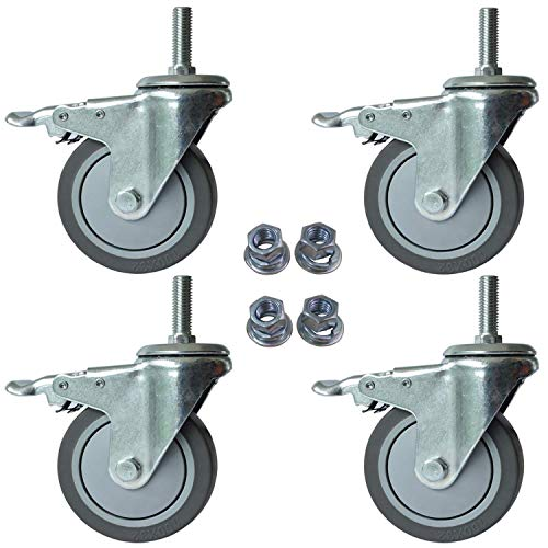 "AAGUT 4 Inch Brake Stem Casters 1/2""-13x1-1/2"", Swivel Stem Caster, Grey Wheel Industrial Castors Heavy Duty Replacement for Carts Set of 4"