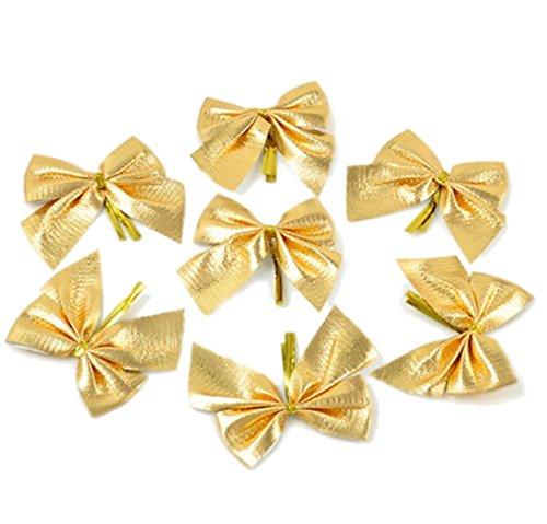 Chytaii 12x Noeud Papillon Bowknot Noël Décoration Ornement DIY Bricolage de Sapin Noël Fête Doré