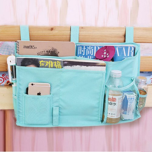 Lecent@ 7 Roomy Pockets Bedside Caddy Storage Organizer- for Books/Phones/Tablets/Accessory and TV Remote - Best for Headboards/Bed Rails/Dorm Rooms/Bunk Beds/Apartments and Bathrooms (Light blue)