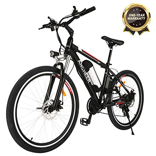 ANCHEER 2019 Upgraded Electric Mountain Bike, 250W 26'' Electric Bicycle with Removable 36V 8AH/12.5 AH Lithium-Ion Battery for Adults, 21 Speed Shifter