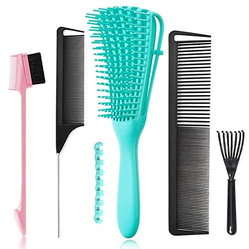 5 Pcs Detangling Hair Brush Set, Ez Detangler Brush With Edge Brush, Rat Tail Combs for Black Natural Hair Styling and Cuting, Curly Straight Wet Dry long Short Hair Available for Women Kids Men