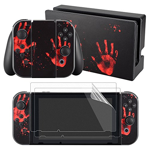 eXtremeRate Sticker Aufkleber Decal Skin Folie Klebefolie mit 2 Displayschutzfolie für Nintendo Switch Console&Joy-Con&Dock&Grip(Handabdruck)