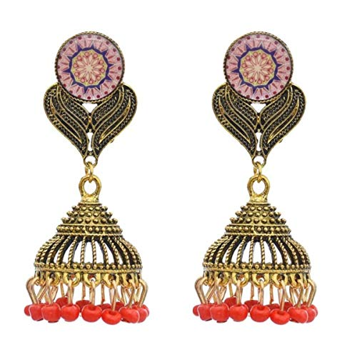 3 pairs New Retro Ethnic Style Rice Beads Pendant Earrings Gold Alloy Pattern Earrings European and American Exaggerated Jewelry.