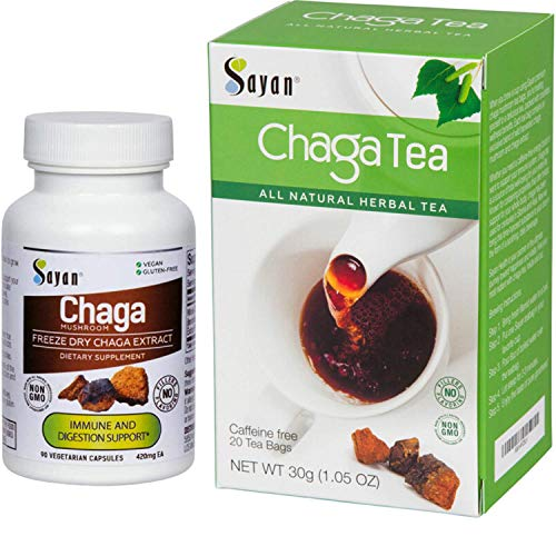 Sayan Siberian Chaga Mushroom Extract Supplement and Chaga Tea - 90 Vegetarian Capsules and 20 Tea Bag Box - Wild-Harvested Dietary Supplement for Immune System Support + Natural Energy Boost