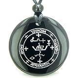 Sigil of The Archangel Michael Amulet Black Agate Magic Pendant Necklace