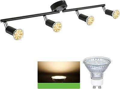 Plafonnier LED 4 Spots Orientables & Orientables, Tomshine 4 x 4W GU10 Barre Spot Plafond LED Eclairage Intérieur, 2 Bras Tournants pour Salon Salle à Manger Cuisine Couloir Chambre (Inclure Ampoule) (noir)
