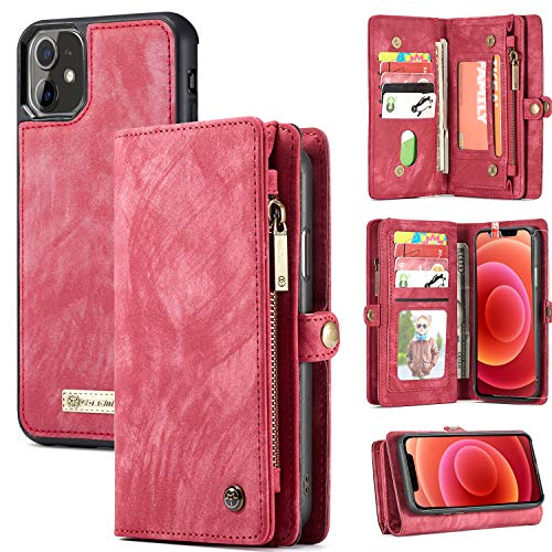 Zttopo Wallet Case Compatible with iPhone 12/12 Pro, 2 in 1 Leather Zipper Detachable Magnetic 11 Card Slots with Screen Protector for iPhone Case Wallet 6.1 Inch (Red)