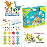 Haifeng 257 Pieces Mosaic Design Puzzle Toy, Screwdriver and Drill Tool Creative Set, Dinosaur Card and Animal Card Assembly Toys, STEM Activities for Kids Ages 3-10 Years Old (with Dinosaur Cards)