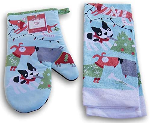 Christmas Dogs Patterned Kitchen Set Oven Mitt and Dish Towel product image
