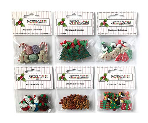 Buttons Galore 60+ Assorted Christmas Buttons for Sewing & Crafts - Set of 6 Button Packs - Gingerbread, Presents, Chirstmas Trees & More