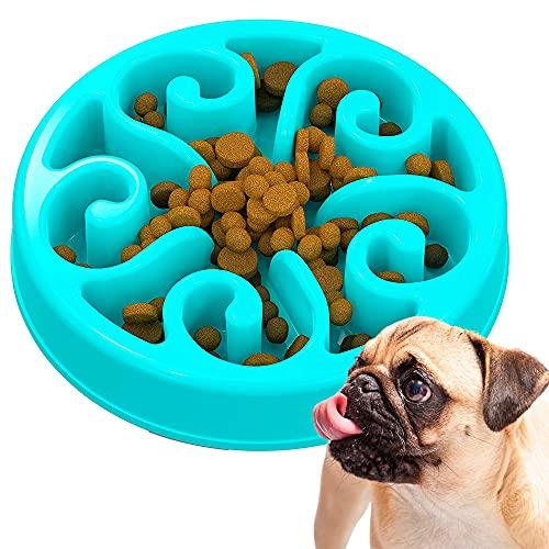 Edipets, Antischlingnapf Hunde Katze, Hunde- Katzennapf, Langsame Fütterung, für Kleine, Mittelgroße und Große Haustiere, Interaktiver Napf (Blau)