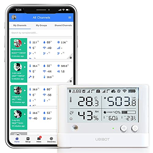 wifi temperature alarms UbiBot WS1 Pro WiFi Temperature Humidity Sensor,Wireless Thermometer Hygrometer,Freezer Data Logger with Alerts, Remote Temperature Monitor,IFTTT,Alexa(2.4GHz WiFi only)