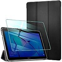 AROYI Funda para Huawei Mediapad T3 10 + Protector Pantalla, Carcasa Silicona TPU Smart Cover Case con Soporte Función para Huawei MediaPad T3 10 (9,6 Zoll) - Negro