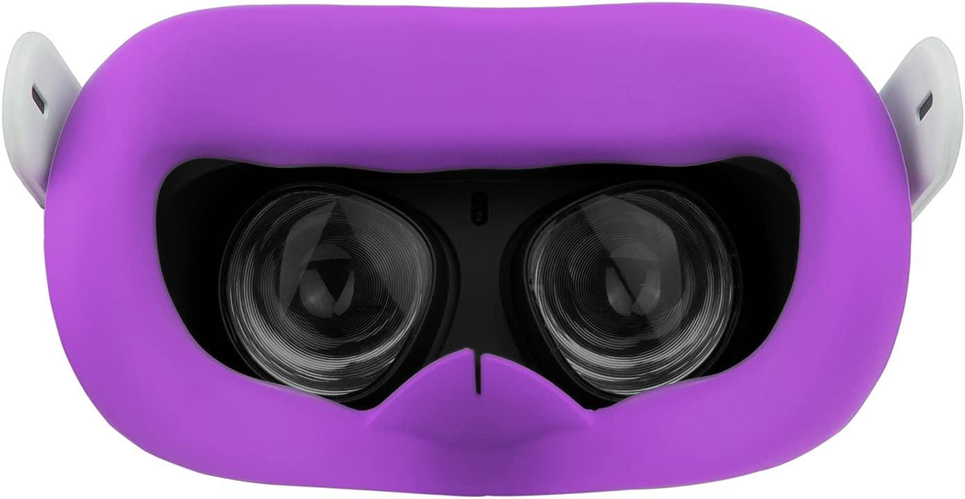VR Face Silicone Cover Mask for Oculus Quest 2 Headset Face Pad Cushion Sweatproof Anti-Fog Oculus Quest 2 Accessories (Purple)