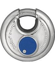 ABUS Diskus® hangslot 24IB/70 van roestvrij staal - met 360° bescherming rondom - ter beveiliging bij sterke weersomstandigheden - 02050 - niveau 8 - zilver/blauw