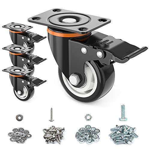 "3"" Caster Wheels,Set of 4,Heavy Duty Swivel Casters with Brake, Safety Dual Locking and No Noise Polyurethane (PU) Wheels,Swivel Plate Castors(Two Hardware Kits for Free)"