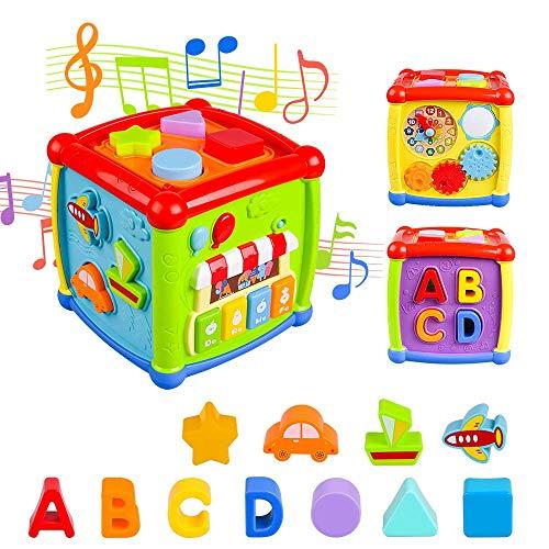 AiTuiTui Música Cubo de Actividades, 6 en 1 Incluye Caja de música Bloques Reloj...