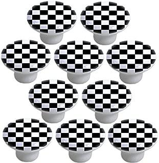 Black Checkered Ceramic Cabinet Drawer Knobs (Set of 10 Knobs)
