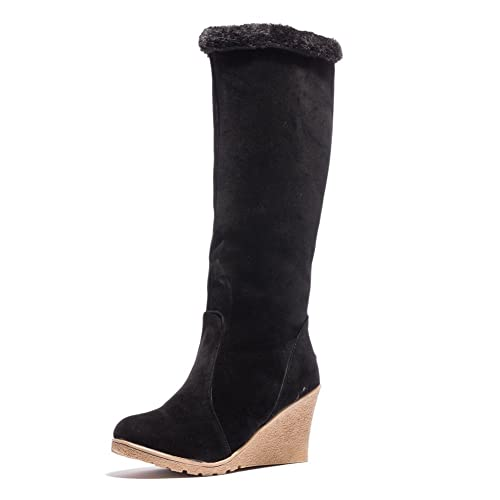 Ifantasy Winter Warm Snow Boots for Women Suede High Heel Wedges Buckle Mid Calf Boots