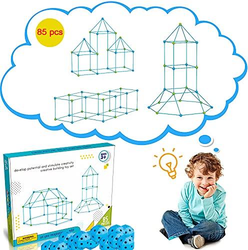 YUDOXN Kits de construcción con Palos, un magnífico Juguete de Regalo para niños y niñas de 3 a 12 años con el Que Construir túneles, Tienda de campaña, Torres, etc con un Total de 85 Piezas
